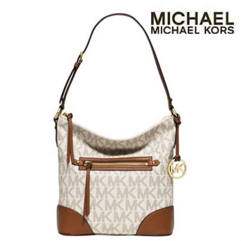 Tas Michael Kors Authentic Michael Kors Shoulder Bag authentic michael kors vanilla brown fallon signature large shoulder handbag ebay