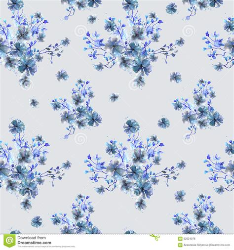 pattern with watercolor bouquets of blue flowers branches