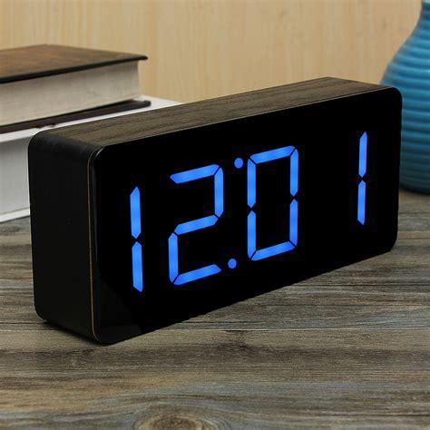 Led Watches Aa W020 Blue acrylic black wood digital blue led alarm clock time