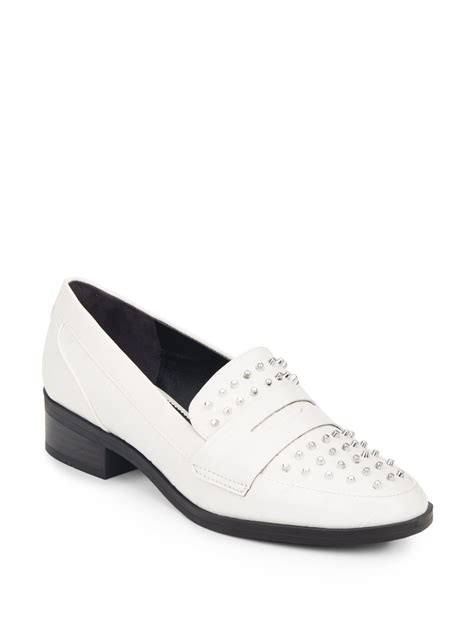 white studded loafers circus by sam edelman lali studded loafers in white lyst