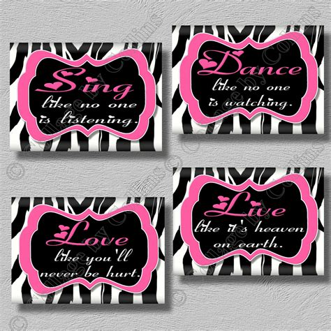 Purple Zebra Print Bedroom Decor Pink Zebra Print Dance Live Love Sing Quote Art Girls