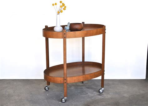 Rolling Bar Mid Century Bar Cart Teak Rolling Bar Cart Two Tier