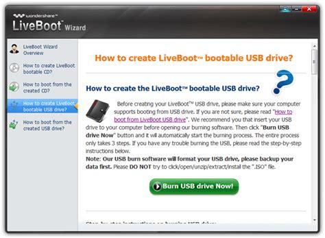 useful emergency bootable cd usb wondershare liveboot 2012