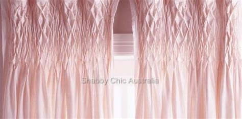 smocked sheer curtains shabby french provincial curtains drapes 2 vintage pink