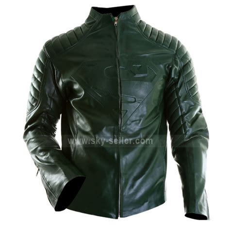 For Leather by New Superman Green Leather Jacket For