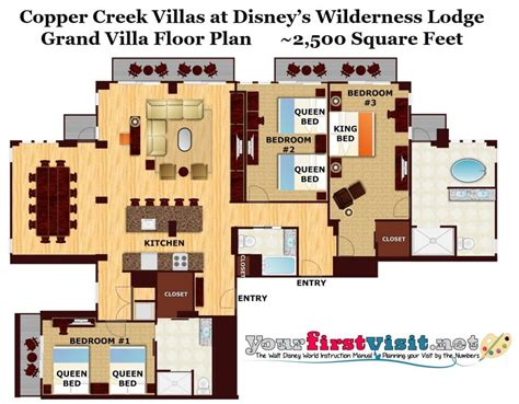 Disney Wilderness Lodge Villas Floor Plan - theming and accommodations at copper creek villas at