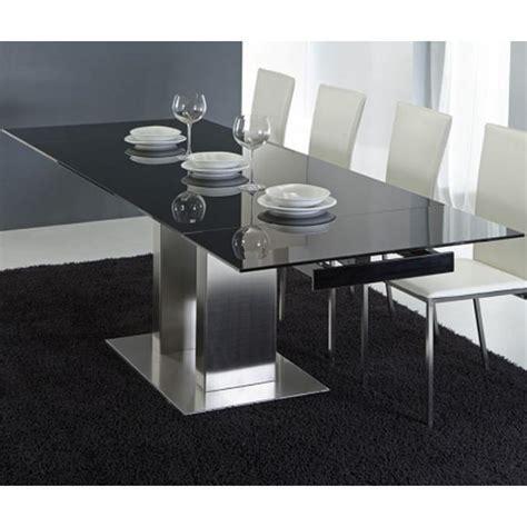 Exceptionnel Table Basse Coffre Ikea #3: table-repas-extensible-haut-de-gamme-stone-henge-verre-noir-acier.jpg