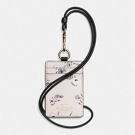 Coach Halftone Floral Lanyard Id Black Multi Original coach f65573 lanyard id in wildflower print coated canvas imitation gold chalk multi coach