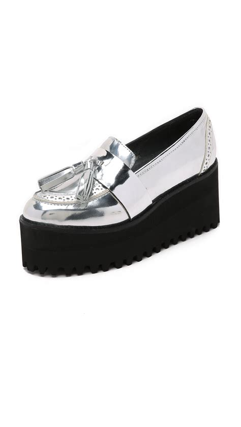 jeffrey cbell platform loafers lyst jeffrey cbell rogan platform loafers in metallic