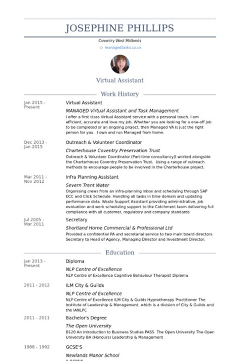 virtual assistant resume sles visualcv resume sles