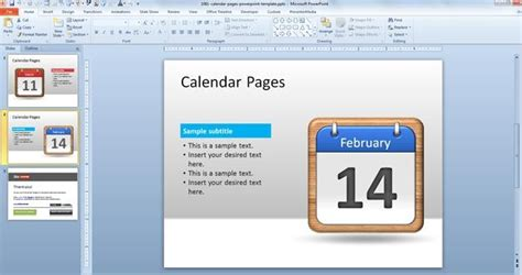 free calendar pages powerpoint template free powerpoint