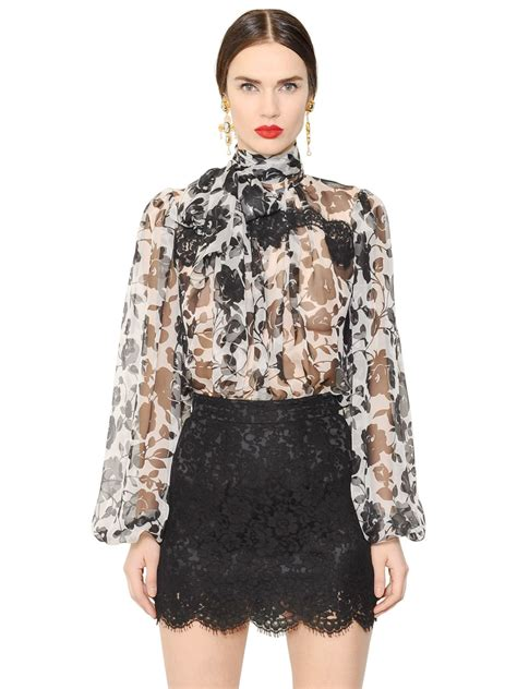 Mine Black Rosey Blouse dolce gabbana printed silk chiffon shirt in black lyst
