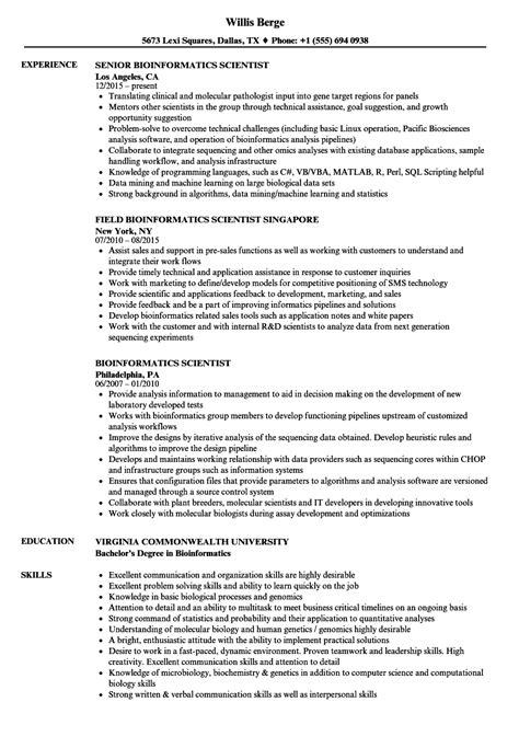 Bioinformatics Resume by Bioinformatics Scientist Resume Sles Velvet