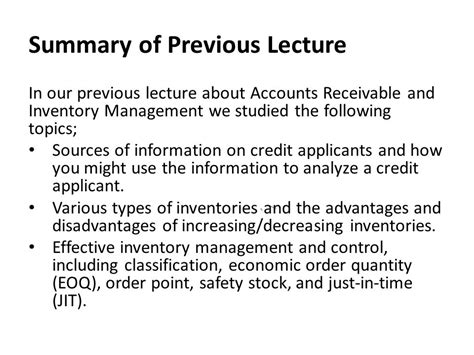 Letter Of Credit Information Types Advantages And Limitations Summary Of Previous Lecture Ppt