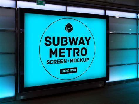 Subway Metro Screen Mockup Mockupworld Subway Poster Template