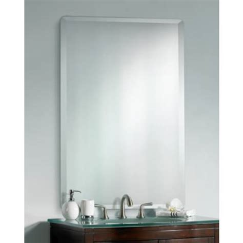beveled glass bathroom mirrors frameless rectangular 40 quot high 30 quot wide beveled mirror