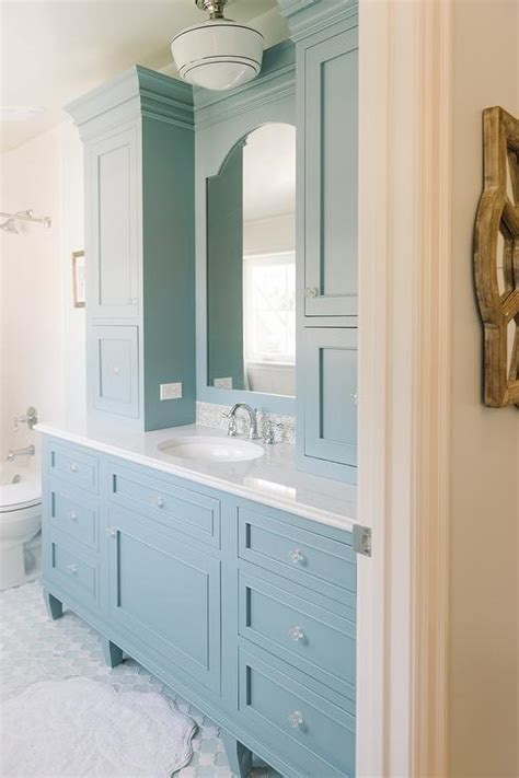 blue bathroom cabinet cornflower blue vanity cabinets cottage bathroom