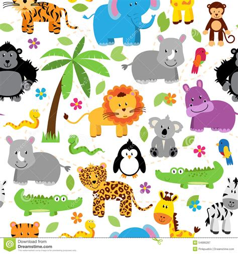 design pattern for zoo seamless tileable jungle animal themed background