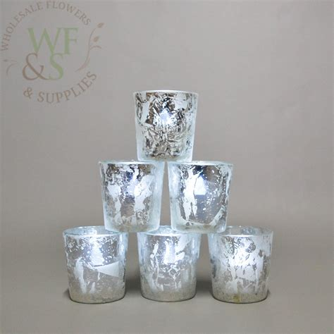 marvelous silver pillar candle holders wholesale frosted silver tapered votive candle holder 6 pack