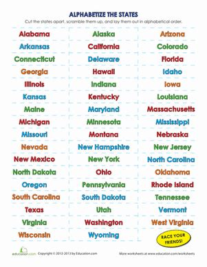 50 U S States And Territories list of the 50 states in alphabetical order worksheet