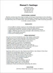 Coach Operator Sle Resume by Professional Driver Templates To Showcase Your Talent