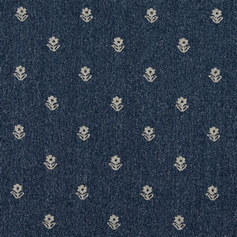 Upholstery Fabric Yardage Chart Navy Blue And Beige Flowers Country Upholstery Fabric By