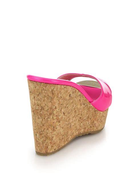 Sandal Wedges Wg14 Pink lyst jimmy choo perfume metallic leather cork wedge mule sandals in pink