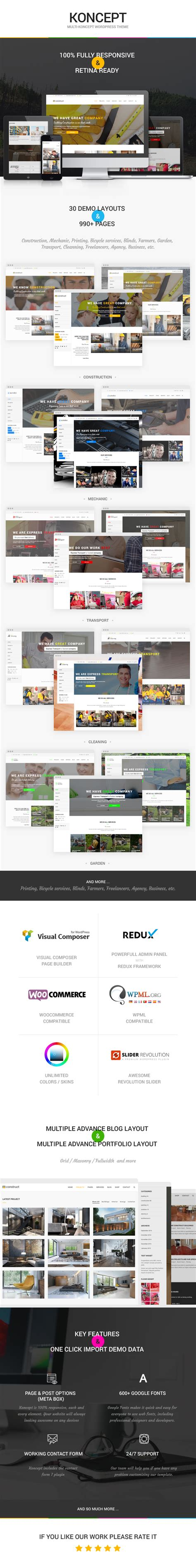 themeforest koncept koncept responsive multi concept wordpress theme