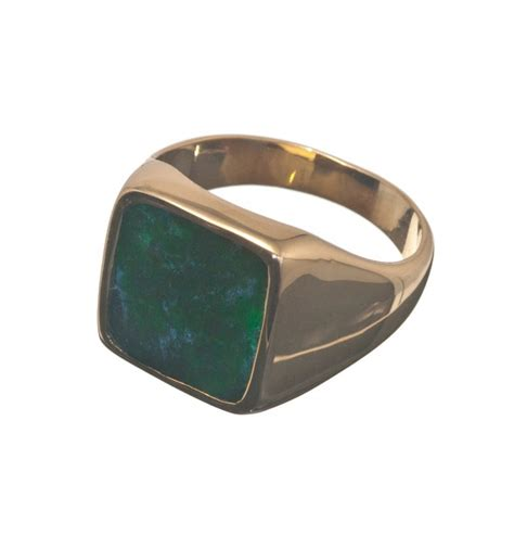 jade albite square gold plated sterling silver ring
