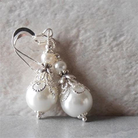Handmade Wedding Jewellery - white pearl earrings pearl bridal earrings beaded wedding