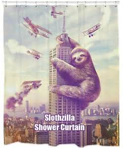 slothzilla shower curtain there is a fine line between want and need and i am