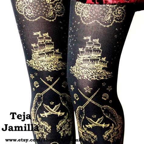 gold tattoo printer l pirate tights narwhal tattoo large gold on black by