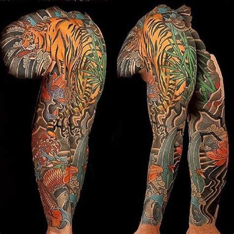 asian japanese full sleeve chest panel tiger koi lotus