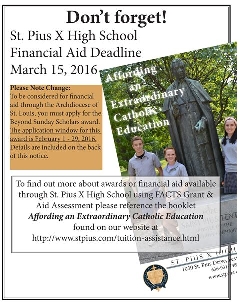 March 15 Mba Deadline by St Pius X Financial Aid Deadline March 15 2016