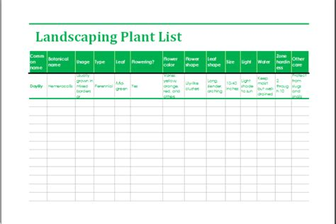 Excel Worksheets Templates Landscaping Schedule Template