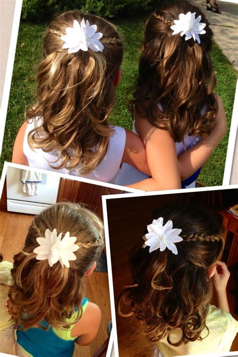 flower girl hairstyle half up with braids and curls hairstyles pinterest
