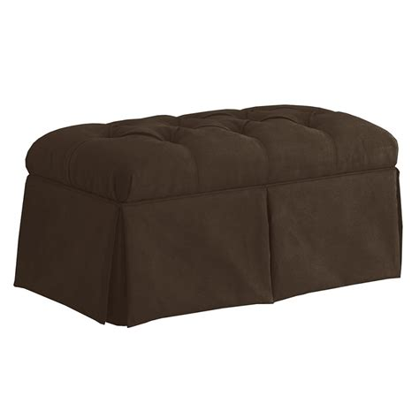 dreamfurniture com skirted storage bench in velvet chocolate