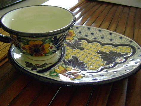Handmade Mexican Pottery - mexican pottery cup and saucer plate handmade in mexico