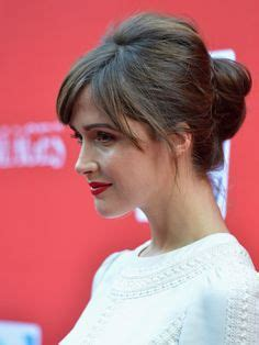 21 nice and flattering hairstyles with bangs hair type rachel mcadams strawberry blond updo with long wispy