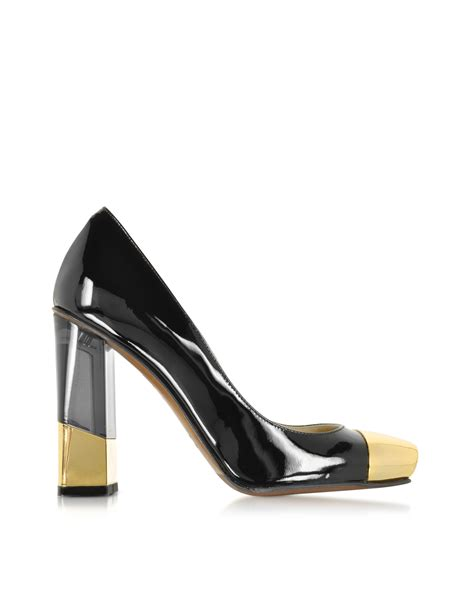 black and gold l lyst l autre chose black and gold patent leather pump in