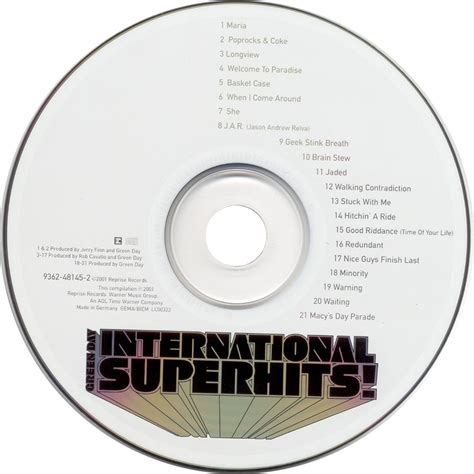 format cd audio original international superhits cd audio by green day cd with