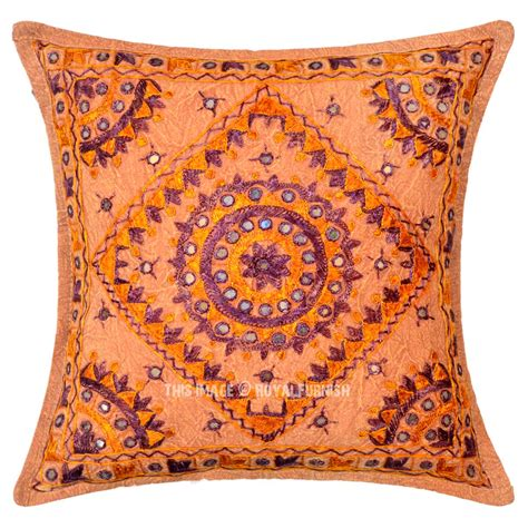 Small Decorative Pillows Brown Multi Small Mirrored Embroidered Cotton Throw Pillow
