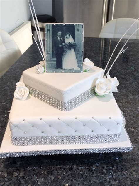 Diamond anniversary cake with photo made with edible