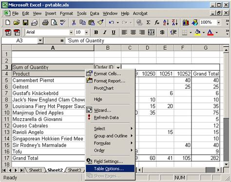 How To Remove A Pivot Table by Ms Excel 2003 How To Remove Row Grand Totals In A Pivot Table