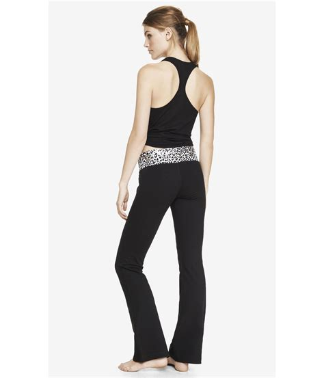 flare yoga pants pattern lyst express leopard aztec wide band flare yoga pant in
