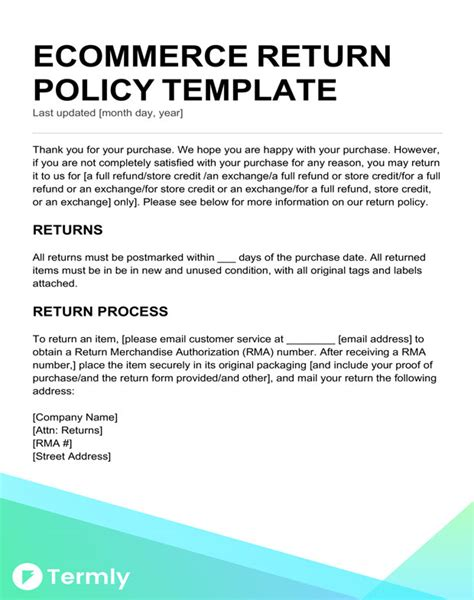Return Policy Templates Exles Free To Download Termly Refund And Exchange Policy Template