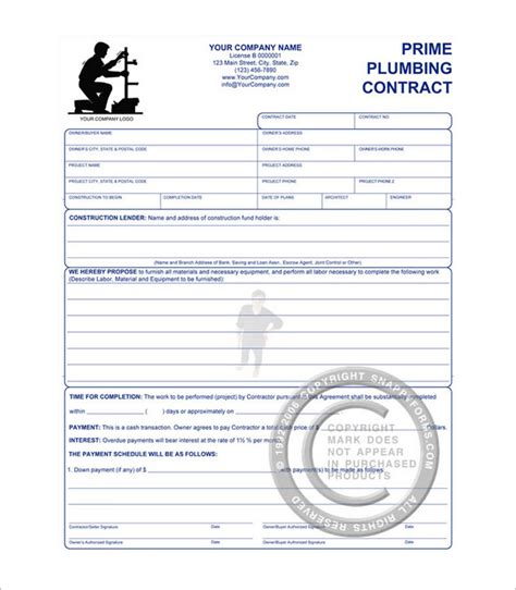 Plumbing Service Agreement Template by 6 Plumbing Contract Templates Free Word Pdf Format