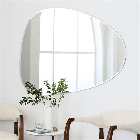 frameless bathroom wall mirrors frameless asymmetrical wall mirror west elm