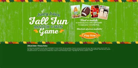 Juicy Juice Sweepstakes - juicy juice fall fun match and win game hundreds of prizes available