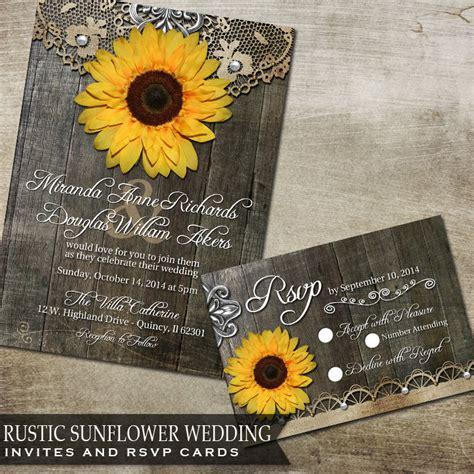 sunflower wedding invites sunflower wedding invitation set rustic wedding by